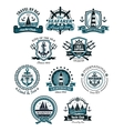 Marine emblems and banners vector image vector image