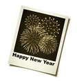 new year fireworks instant photo vector image vector image