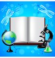 Opened book and science tools on blue background vector image