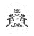 Paintball related poster with two crossed guns and vector image vector image