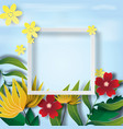 paper art of frame with nature green leaf and vector image vector image