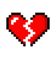 pixel art heart love color icon valentine vector image vector image