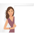 posing girl with sign vector image vector image