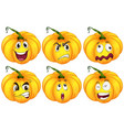 pumpkins with different facial expressions vector image vector image