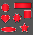red stickers with white stroke vector image vector image