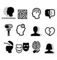 Schizophrenia mental health psychology icons vector image vector image