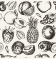 seamless pattern fruits - modern hand drawn vector image