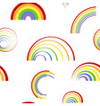 seamless pattern with different rainbows vector image vector image