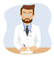serious doctor writing prescriptopn in office vector image