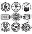 set cinema badges with camera clapboard vector image