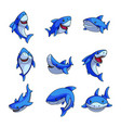 set colorful blue shark in different comic vector image vector image