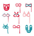 set of variegated carnival and tribal masks vector image