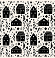 small whimsical houses seamless pattern folk vector image