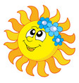 smiling sun with flowers vector image