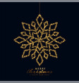 snowflake christmas design in black and gold color vector image vector image