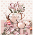 sweet valentine day card with tulip flowers in a vector image