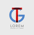 tg logo letters with blue and red gradation vector image vector image