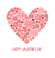 Valentines day red floral card vector image