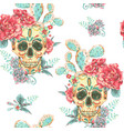 vintage seamless pattern with skull and vector image vector image