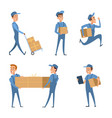 workers of delivery set of characters vector image vector image