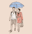 young couple under umbrella vector image