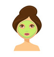 young woman with green face mask and her hair up vector image
