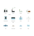 Power plants and Energy stations color icons on vector image