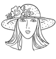 hand-drawn fashion model womans face a hat vector image