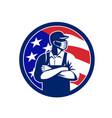 american supermarket worker wearing mask usa flag vector image vector image