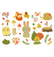 Autumn forest elements set forest animals leaves