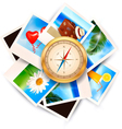 Background with travel photos and compass vector image