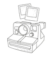 Black and white silhouette of old photo camera vector image vector image