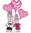 Bunny love balloons vector image vector image