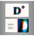 Business card template letter D vector image vector image
