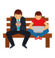 businessman with smartphone and guy with laptop on vector image vector image