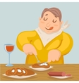 Cartoon Fat Man Eat Grilled Meat Sausage Character vector image vector image