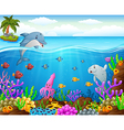 cartoon fish under the sea vector image vector image