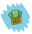 Cash back icon isolated on blue background