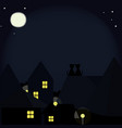 cats on the roofs of the night city vector image vector image