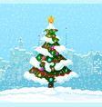 christmas winter cityscape snowflakes fir tree vector image