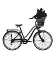 city bike black silhouette vector image