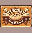 delicious homemade cookies retro tin sign design vector image vector image
