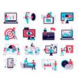 digital marketing icons set vector image vector image