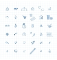 doodles business icons vector image vector image