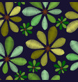 embroidery foliage seamless pattern with green vector image