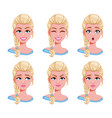 face expressions blonde woman set vector image vector image