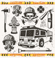 firefighters equipment set objects vector image vector image