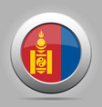 flag of mongolia metal gray round button vector image