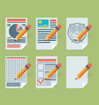 flat document icons vector image vector image