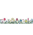floral seamless border background with isolated vector image vector image